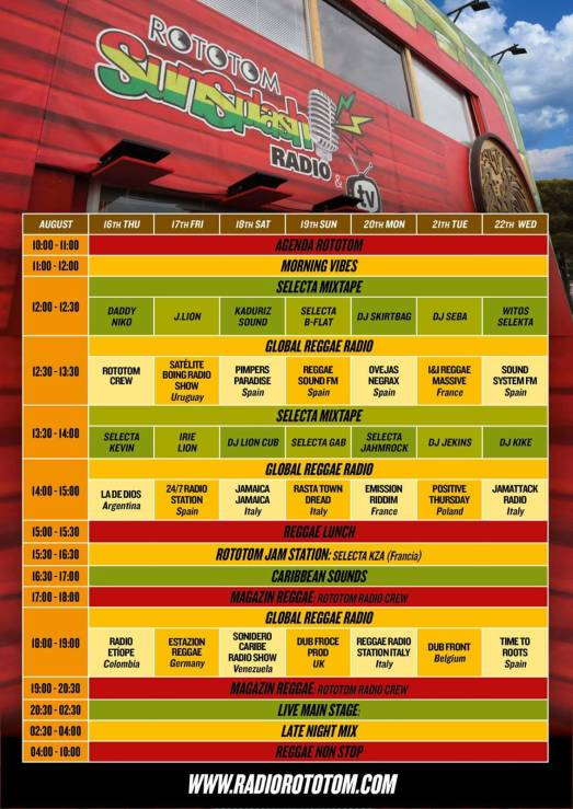 Rototom Sunsplash Radio 2018 festival programme featuring DJ Skirtbag